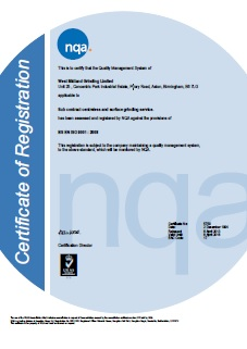 West Midland Grinding ISO 9001 2008 Certificate